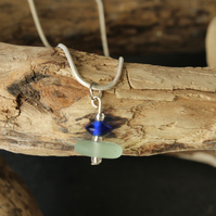 White and royal blue stacked sea glass necklace