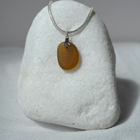 Amber coloured sea glass necklace