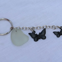 Clear sea glass keyring with butterfly charms