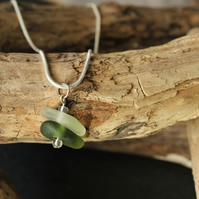 Bright green and white stacked sea glass necklace