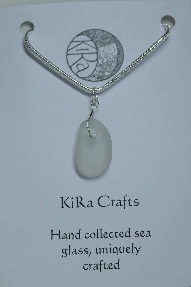 Clear sea glass pendant necklace