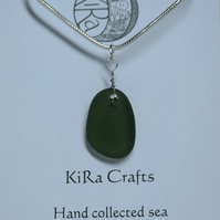 Green sea glass pendant necklace