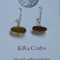 Amber coloured sea glass, silver-plated drop earrings