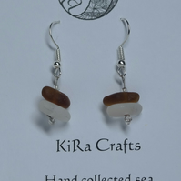 Clear and amber coloured sea glass, silver-plated drop earrings