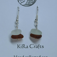 Amber coloured and clear sea glass, silver-plated drop earrings