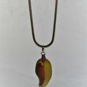 Muticoloured yellow and red sea glass pendant necklace
