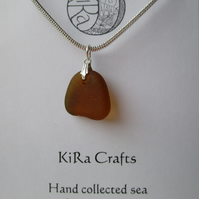 Amber coloured sea glass pendant necklace