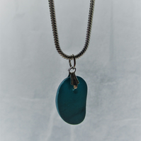 Multicoloured blue and white sea glass pendant necklace