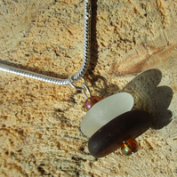 Rich brown and white stacked sea glass necklace