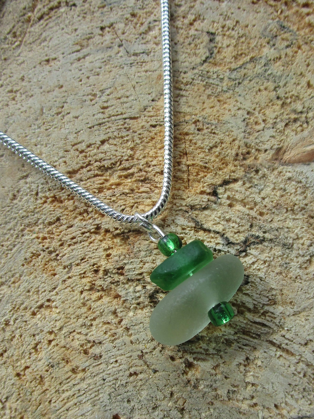 Emerald green and white stacked sea glass necklace