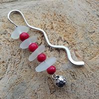 Wave bookmark with clear sea glass, red beads and football charm