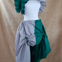 Witch Wizard Green Silver House Colours Full Length Bustle Skirt-One Size
