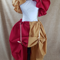 Witch Wizard Red Gold Cosplay House Colours Full Length Bustle Skirt-One Size