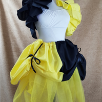 Witch Wizard Yellow Black House Colours Knee Length Bustle Skirt-One Size