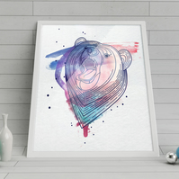 Bear: Art poster printed on canvas textured paper