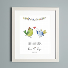 Bird Couple Personalised Print