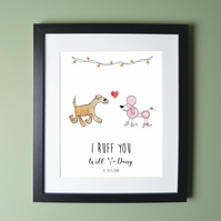 Dog Couple Personalised Print