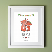 Fox Couple Personalised Print