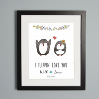 Penguin Couple Personalised Print