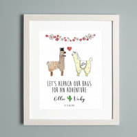 Alpaca Llama Wedding Personalised Print