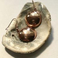 Copper domed shiny earrings
