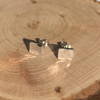 Simple minimalist sterling silver square earrings