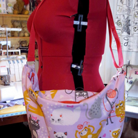 crazy cat lady bag in pretty lilac with a bright red zip