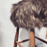 Faux fur restored wooden stool