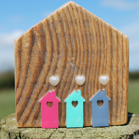 Handmade wooden embellished house ornament