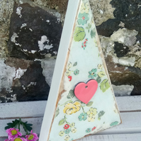 Handmade Wood Decoupaged Cath Kidston Large Triangle Ornament