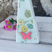 Handmade Wood Decoupaged Cath Kidston Tall Triangle Butterfly Ornament