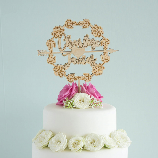 Personalised Wedding Cake Topper With S Names And Fl Wreath L42