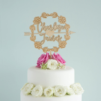 Personalised wedding cake topper with couple's names and floral wreath L42