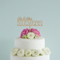 Personalised wedding cake topper. Traditional Mr and Mrs cake decoration L40