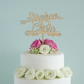 Personalised wedding cake topper custom made with couple's first names L112