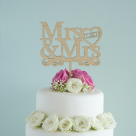 Personalised Mrs and Mrs gay lesbian wedding cake topper L111 LGBT
