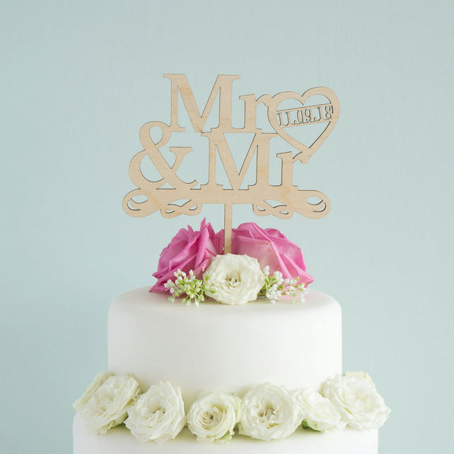 Personalised Mr and Mr gay wedding cake topper civil partnership L110 LGBT