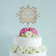 Personalised wedding cake topper floral pattern with couple's first names L165