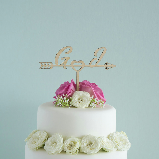Personalised wedding cake topper love heart with arrow and initials L41