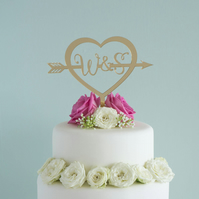 Personalised wedding cake topper love heart with arrow couple's initials L113