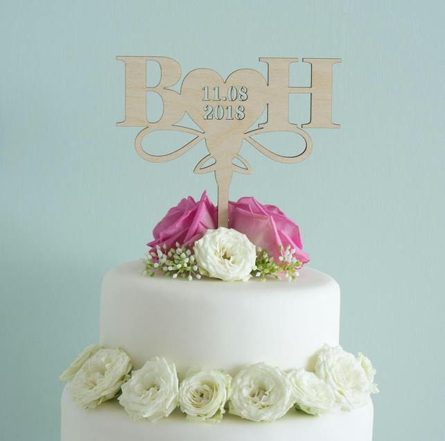 Personalised wedding cake topper with heart, couple's initials and date L161