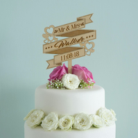 Personalised Mr and Mrs wedding cake topper with scroll design L141