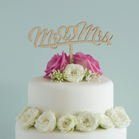 Unique wedding cake topper featuring script 'Mr and Mrs' lettering design L151