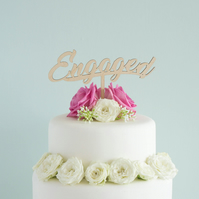 Engagement cake topper. Hen bachelorette party script 'Engaged' lettering L47