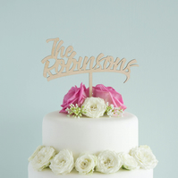 Personalised wedding cake topper with custom Mr and Mrs cursive lettering L43