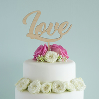 Unique custom made wedding cake topper. Cursive script 'Love' text design L46