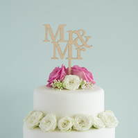 Gay Mr and Mr wedding cake topper. Civil partnership LGBT cake decoration L108