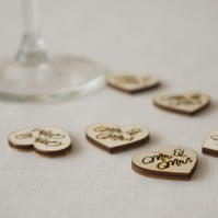 Wedding table confetti. Engraved Mr and Mrs love hearts wedding favours L67