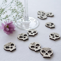 Rustic sugar skull wedding table confetti. Day of the dead table decorations L83
