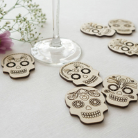 Rustic large sugar skull wedding table confetti pieces laser engraved wood L84